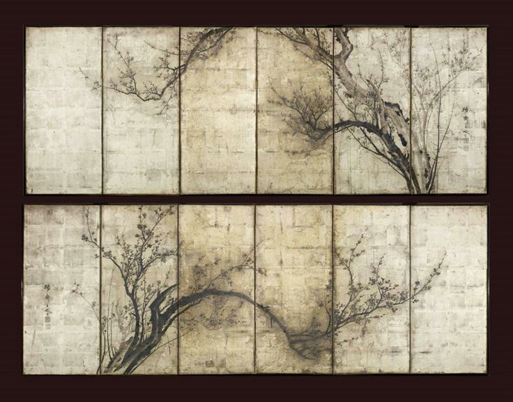 japanese six fold paper screeens, Okada Yosai, from Gregg Baker Asian Arts