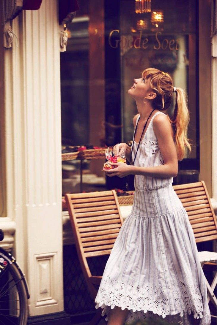 Free People dress and pretty hair.