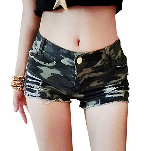 I absolutely love this camo outfit.  Seriously camouflage women's clothing looks  super cute and sexy.  Very fashion  forward and stylish not to mention trendy.      EGELBEL Women's Camouflage Jeans Denim Low Waist Hot Shorts Large Camo