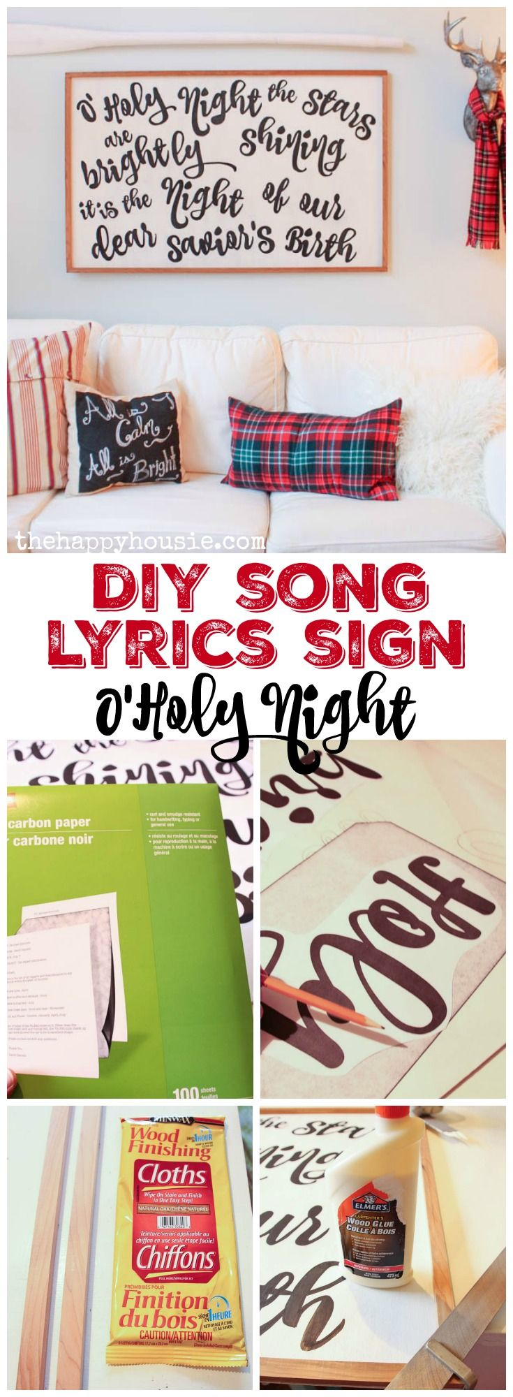 How to make your own DIY Song Lyrics or Christmas Carol Sign at thehappyhousie.com