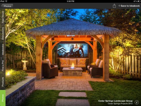 Amazing backyard tiki hut media room                                                                                                                                                                                 More