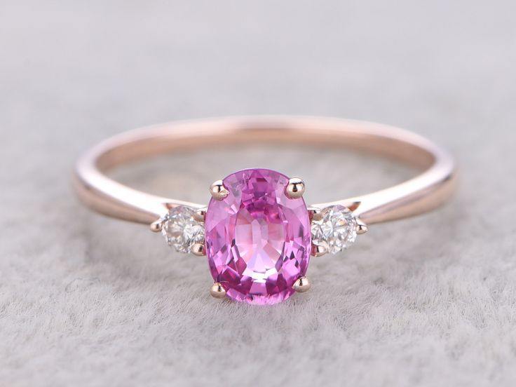 1.15ct Oval Pink Sapphire Engagement Ring Diamond Wedding Ring 14K White Gold Gifts For her - BBBGEM