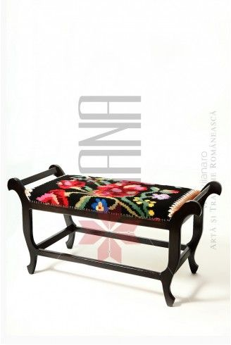 Furniture with Romanian traditional models upholstery