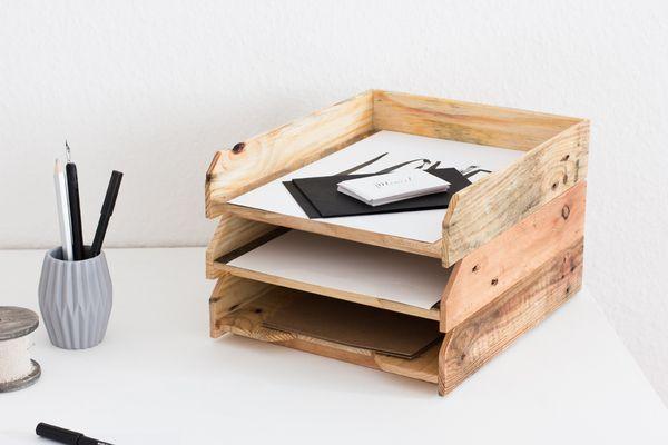 Briefablage geölt 3er Set- Ablagesystem für Papier (A4)