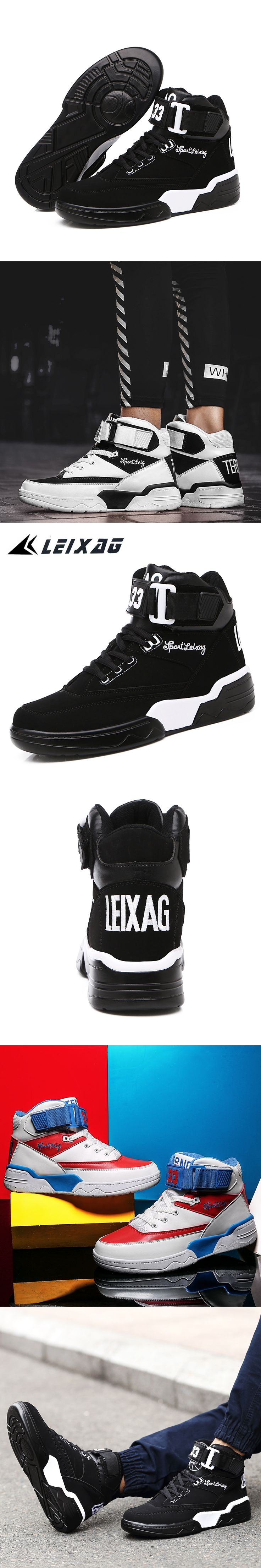 LEIXAG Men's Basketball Shoes Damping Men Sports Shoes High Top Breathable Trainers Leather Sneakers Outdoor Jordan Shoes 36-48