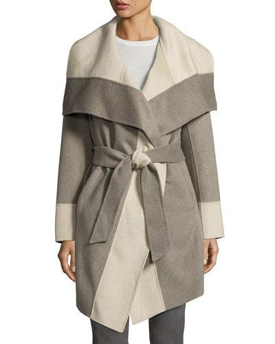 Last Call | Diane von Furstenberg Mackenzie Wool-Blend Colorblock Wrap Coat