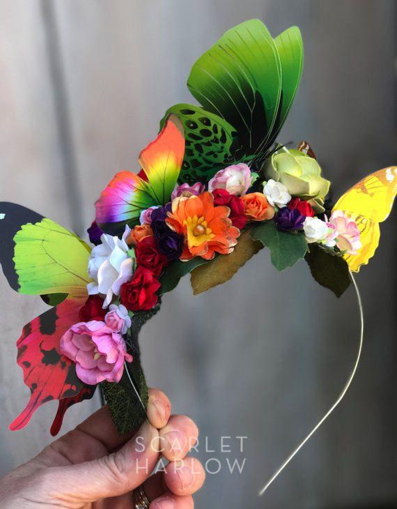 Butterfly flower headband photoshoot festival by ScarletHarlow
