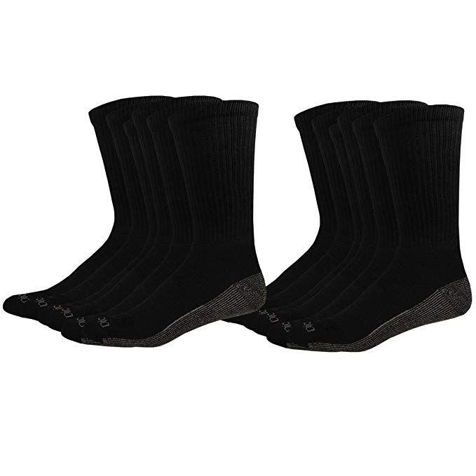 12 Pair Black Shoe Size: 5-9 Dickies Mens Petite Multi-Pack Dri-Tech Moisture Control Crew Socks