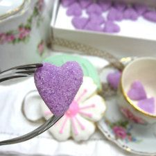 Elegant Handmade Violet Heart-Shaped Sugar Cubes. Also comes in white or pink. Makes a romantic statement for #weddings and #bridalshowers