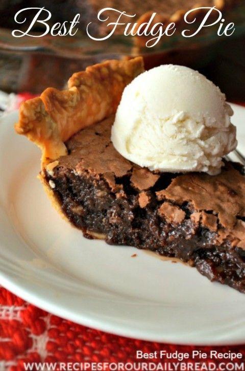 Best Fudge Pie http://recipesforourdailybread.com/2013/11/09/best-chocolate-fudge-pie-yum/ #pie #homemade pie #fudge pie #dessert