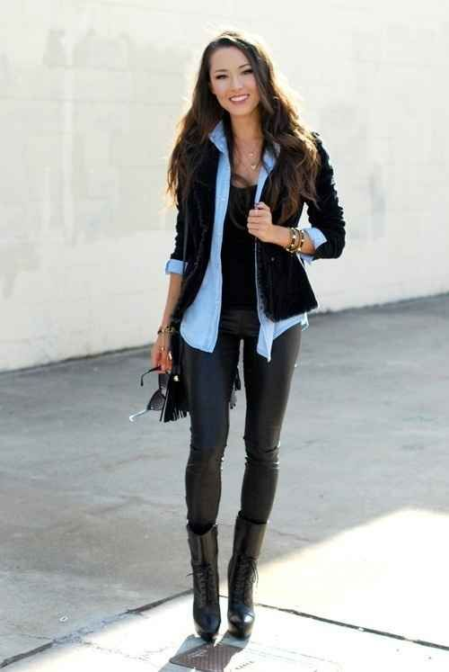 Layer a denim shirt under a chunky black cardigan or blazer.
