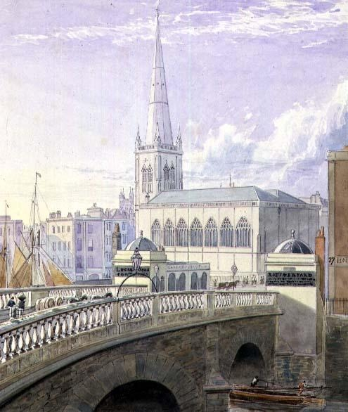 Samuel Jackson: Bristol Bridge and St. Nicholas' Church (19th c.)