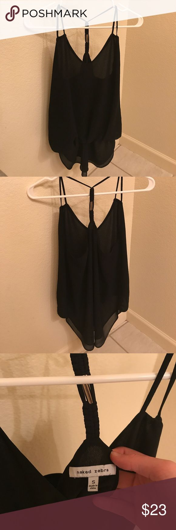 Naked Zebra Top Naked Zebra Black Strappy Top. Racerback design with an intricate braided back and metal insert. Super cute! Never worn, too small for me😝 Naked Zebra Tops
