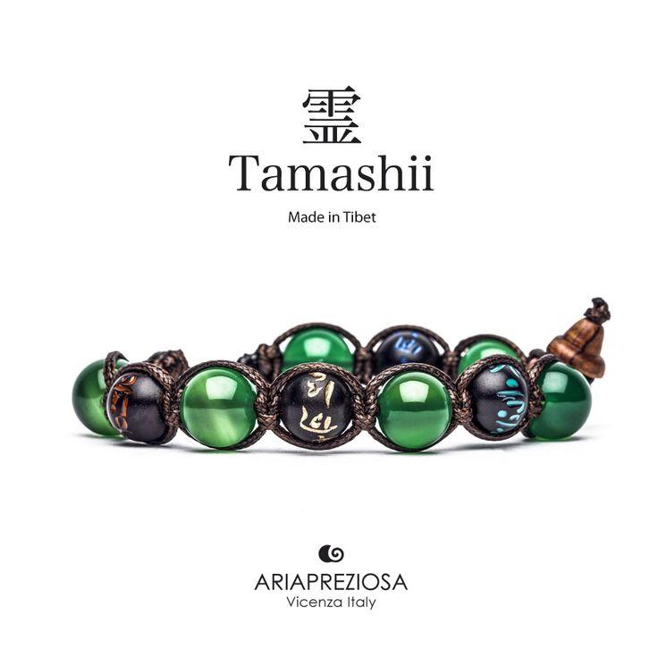 Tamashii - Bracciale originale tibetano (tg. L) realizzato con pietre naturali Agata Verde e legno orientale autentico con SIMBOLI MANTRA incisi a mano