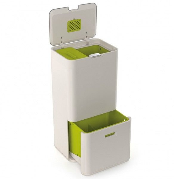 Joseph Joseph Totem Recycling Unit - Stone - 60L - The Joseph Joseph Totem Recycling Unit - Stone - 60L takes up the same amount of space as a normal kitchen bin; however with three integrated compartments, wheeled base and an odour filter, it offers oodles more functionality.  This super bin comes in a stylish colour combo called stone (white and green), making it perfect for any contemporary kitchen space.