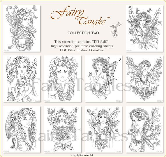 fairy tangles printable coloring book bulk collection two ten 8x10 inch printable coloring pages - Coloring Books In Bulk