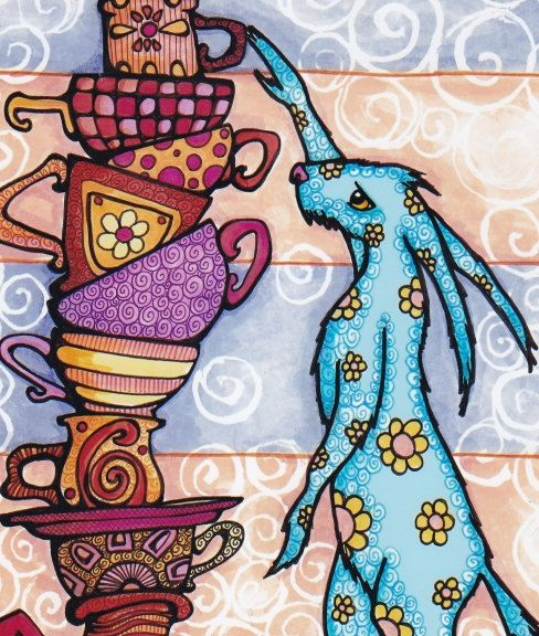TheSlumberingHerd       Whimsical Blue Rabbit and Tower of Teacups, Coffee Mugs…
