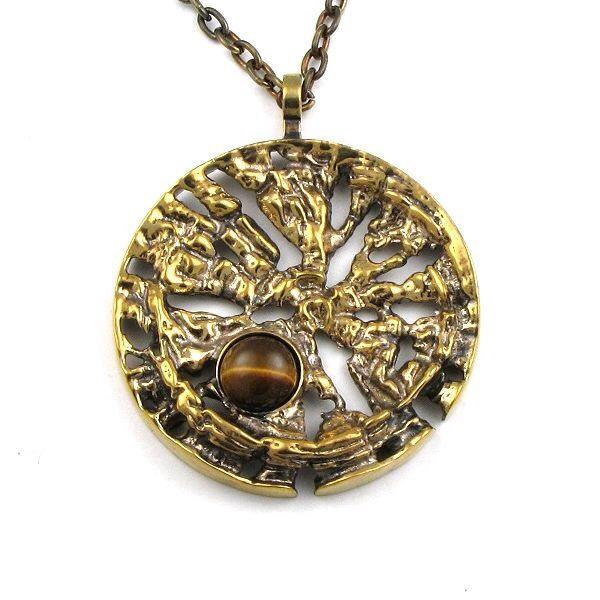 Pentti Sarpaneva for Turun Hopea, Vintage bronze pendant with tiger's eye stone, 1960's-70's.   eBay.com #Finland
