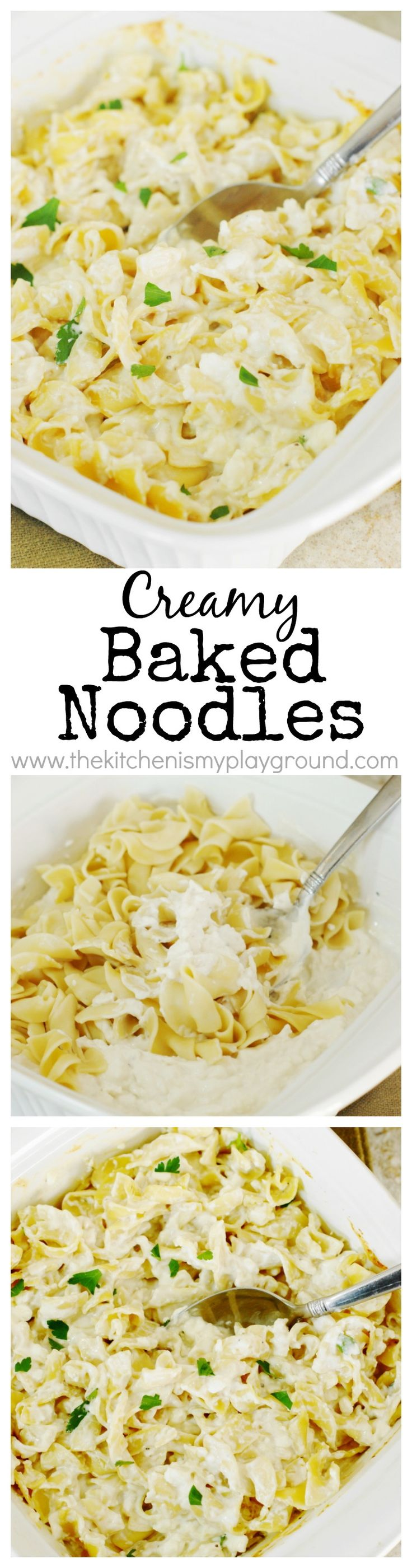 Creamy Baked Noodles ~ a super simple side dish that pairs beautifully as an easy side for just about anything!