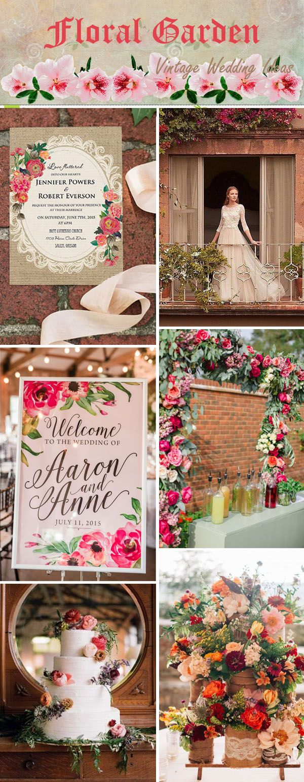 rustic vintage floral garden wedding ideas and
