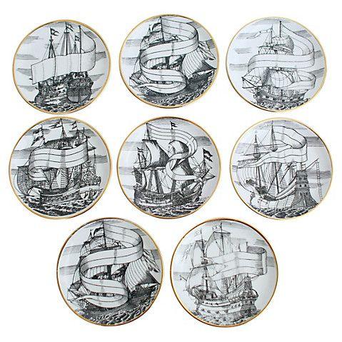 Fornasetti Tall Ship Coasters, S/8 $749.00