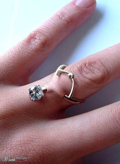 Unusual piercingHands, Rings Fingers, Piercing Ideas, Diamonds Rings, No Way, Wedding Rings, Marriage, Tattoo, Engagement Rings