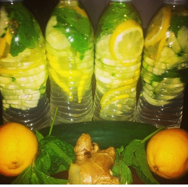Cucumber, Lemon, Ginger and Mint water. Add all ingredients to bottles or pitcher of water and allow to sit in the fridge overnight to allow the flavors to infuse. Easy on the ginger. It's spicy. But as much as you like of the mint leaves and  lemon and cucumbers sliced thinly. This drink will help to de-bloat you, lose belly fat and detox you. Very refreshing especially on muggy, hot, swampy days. I drink this everyday upon waking, throughout the day and before bed. Love this!!