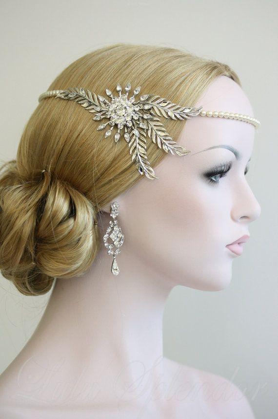 Wedding Halo Headpiece Crystal Leaf Bridal Hair