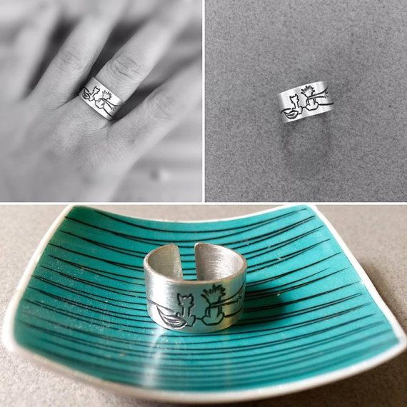 Friendship Silver Ring with the Little Prince - adjustable ring, Wideband ring -  Custom made ring