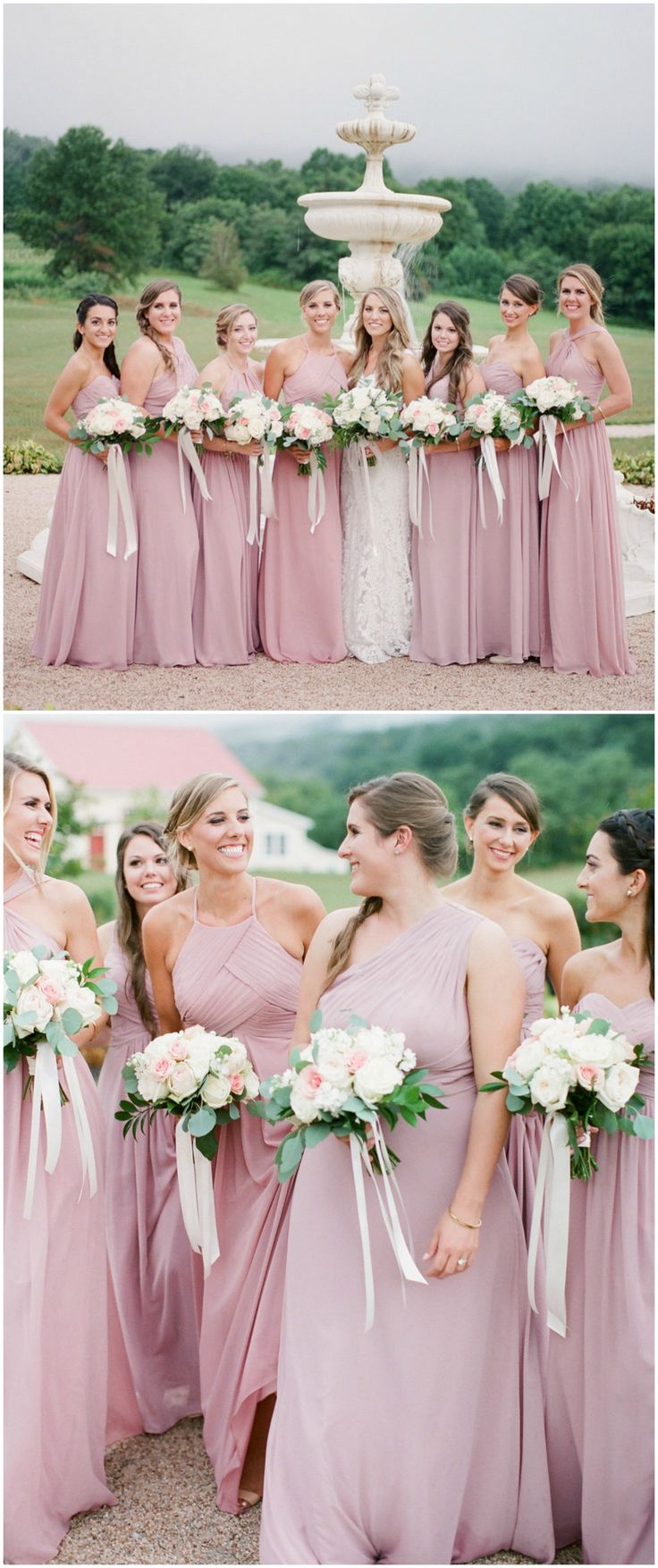 Best 25 romantic bridesmaid dresses ideas on pinterest romantic bridesmaid fashion pink high necked bridesmaid dresses pink and white wedding bouquets ombrellifo Images