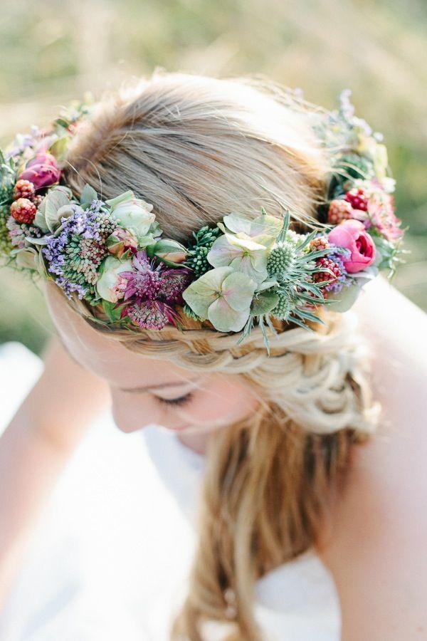 Blütenhaarkranz, Sommer Hochzeitsblumen,Herbstliche Blütenpracht von Christin Lange Fotografie www.blumig-heiraten.de