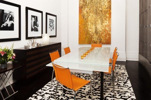 Ideen einrichtung esszimmer farben orange braun weißer esstisch ...