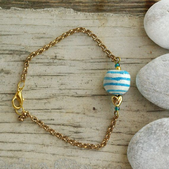 navy summer BRACELETS with red and blue stripes beads by loliti