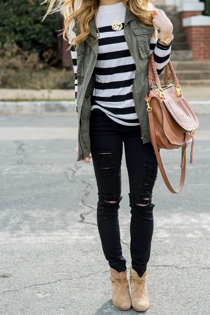 @brightonkeller // BrightonTheDay Blog // Casual Fall Outfit with army green military vest + black & white striped shirt + Rag & Bone Tan suede booties + black ripped skinny jeans + gold monogram necklace + Chloe marcie bag in tan