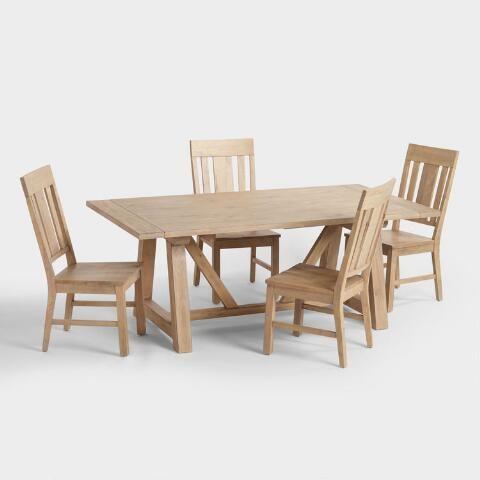 Wood Leona Farmhouse Extension Dining Table World Market
