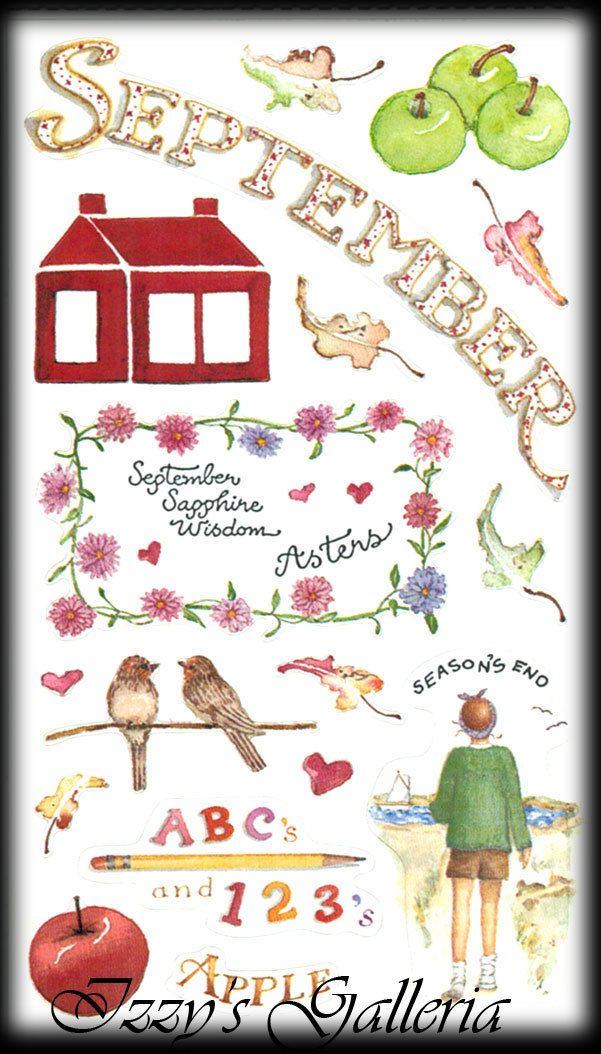 Susan Branch Vintage Retired September Apple School Flowers ABC's Stickers | eBay