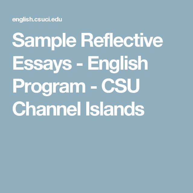reflective essays for english The introduction and other reflective components preparing to write the introduction 49 the reflective writing you do could well be your most important writing.