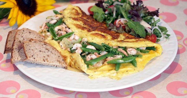 Omelett med reker
