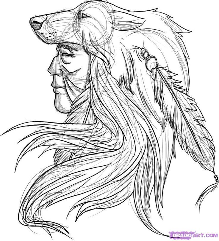 native american, indian, wolf, skinwalker, turtle island, tattoo - if he were a she i'd be all in