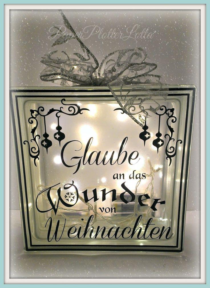 Cute PaperPlotterLottas CraftChaos Beleuchteter Glasbaustein mit Weihnachts Spruch