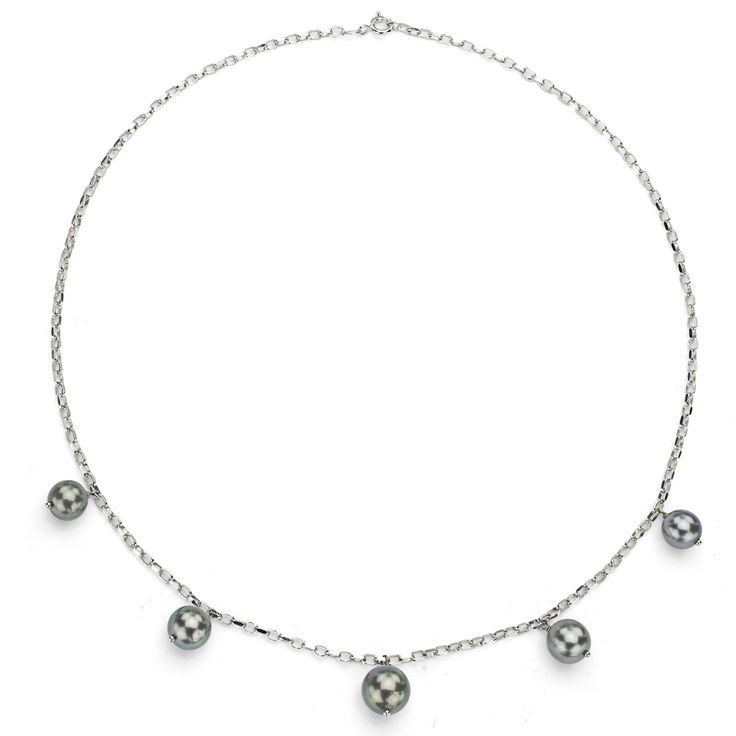 DaVonna Sterling Silver Black Tahitian Pearl Tin Cup Necklace