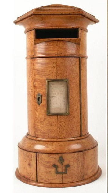 The first pillar box was introduced to the British Isles on this day in 1852. This model post box was made to stand in the entrance hall of a large country house. A servant would empty the box each day and take the letters to the nearest post office. Museum Collections Centre.