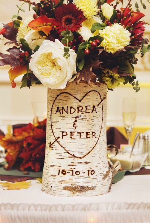 Incorporate rustic decorations to tie the fall theme together. Wedding Tips: Throwing a Fall Bridal Shower. Create the perfect shower with ideas for favors, theme, autumn centerpieces and more! #weddings #fall #autumn #bridal #shower