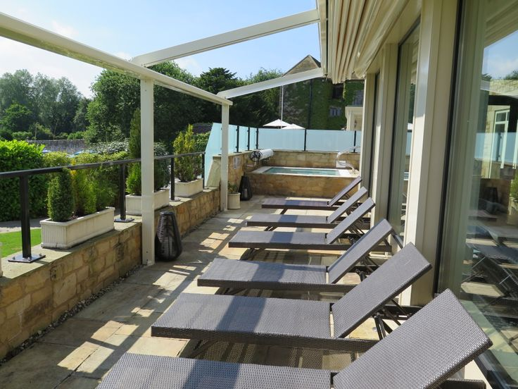 The electrically retractable awning on our #Spa terrace means that spa  members and residents can