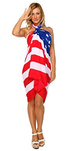 1 World Sarongs Womens American Flag Swimsuit Cover-Up Sarong. Ravishing style sarong with plenty of wrap around material. You'll love it's silky smooth texture, it's perfect for travel, and it's also lightweight for hot temperatures. Hand made by artists in Bali exclusively for 1 World Sarongs. One size will fit most at 66 by 44 inches (168 cm x 112 cm). Measures 66 x 44 inches; Color, size, and design will vary due to the handmade nature of this item.