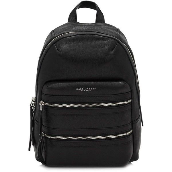 Marc Jacobs Leather Biker Backpack (12.900 CZK) ❤ liked on Polyvore featuring bags, backpacks, black, marc jacobs backpack, backpack bags, day pack backpack, marc jacobs bags and leather strap backpack
