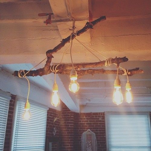 Industrial Inspired Light Installation Mossy Tree Branch Edison Bulbs My