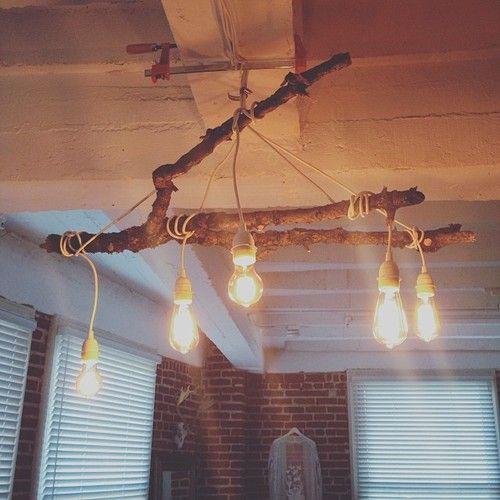 Industrial Inspired Light Installation Mossy Tree Branch Edison Bulbs My