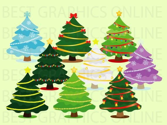Christmas Tree Clip Art Holiday Clipart Christmas Tree Etsy In 2020 Holiday Clipart Christmas Tree Clipart Christmas Clipart