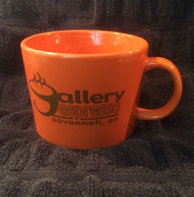Gallery Espresso Savannah GA Georgia Coffee Shop Cafe Cup Mug Wide 10 oz Orange